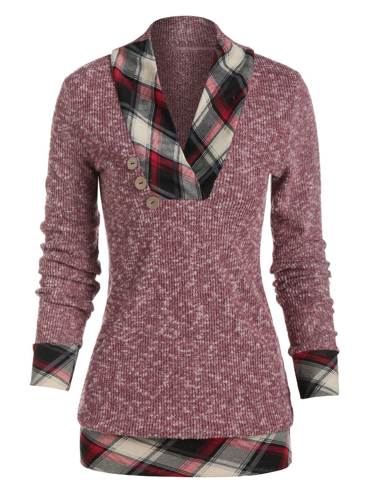 Shawl Neck Checked Trim Heather Knit Sweater - RED WINE M