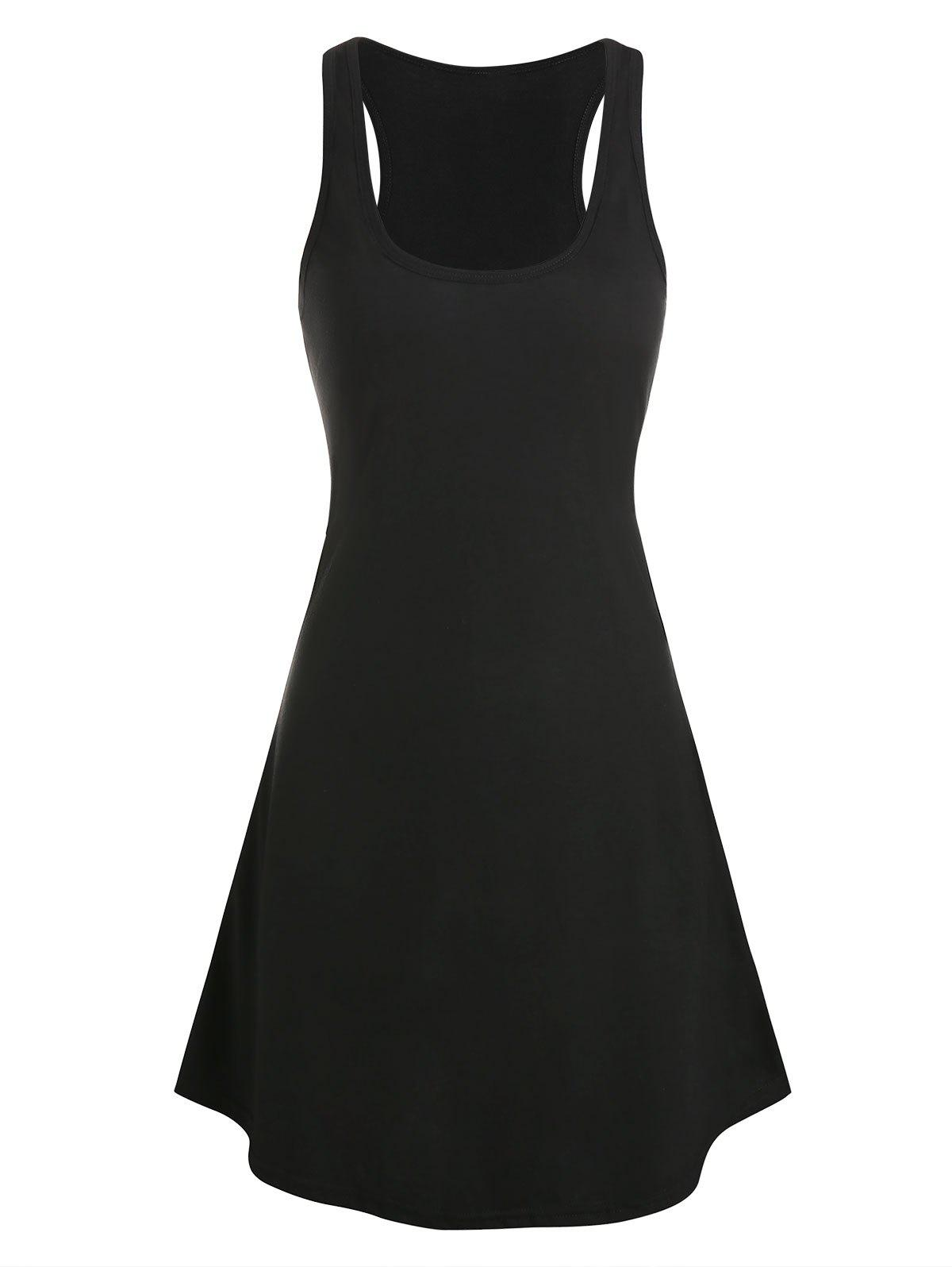 Curved Hem Heathered Tank Dress - BLACK 3XL