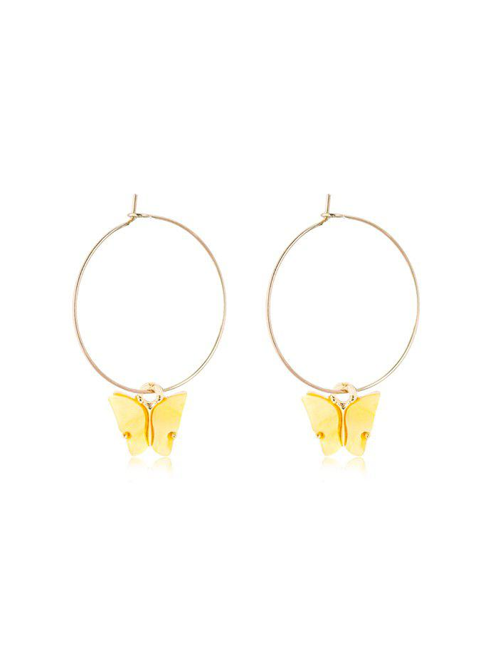 Butterfly Pendant Large Hoop Earrings - YELLOW 5*3.5CM