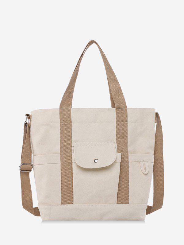 Canvas High Capacity Crossbody Bag - WHITE