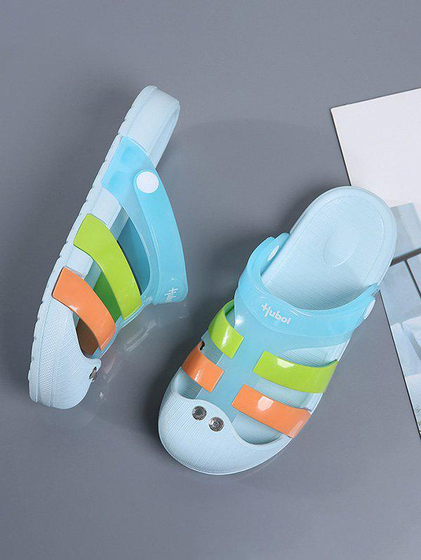 Colorblock Jelly Closed Toe Hole Slides - LIGHT BLUE EU 40