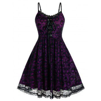 Plus Size Skull Lace Backless A Line Cami Dress