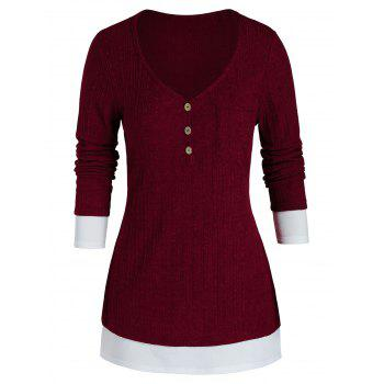 Plus Size Bicolor Chest Pocket Knitted Sweater