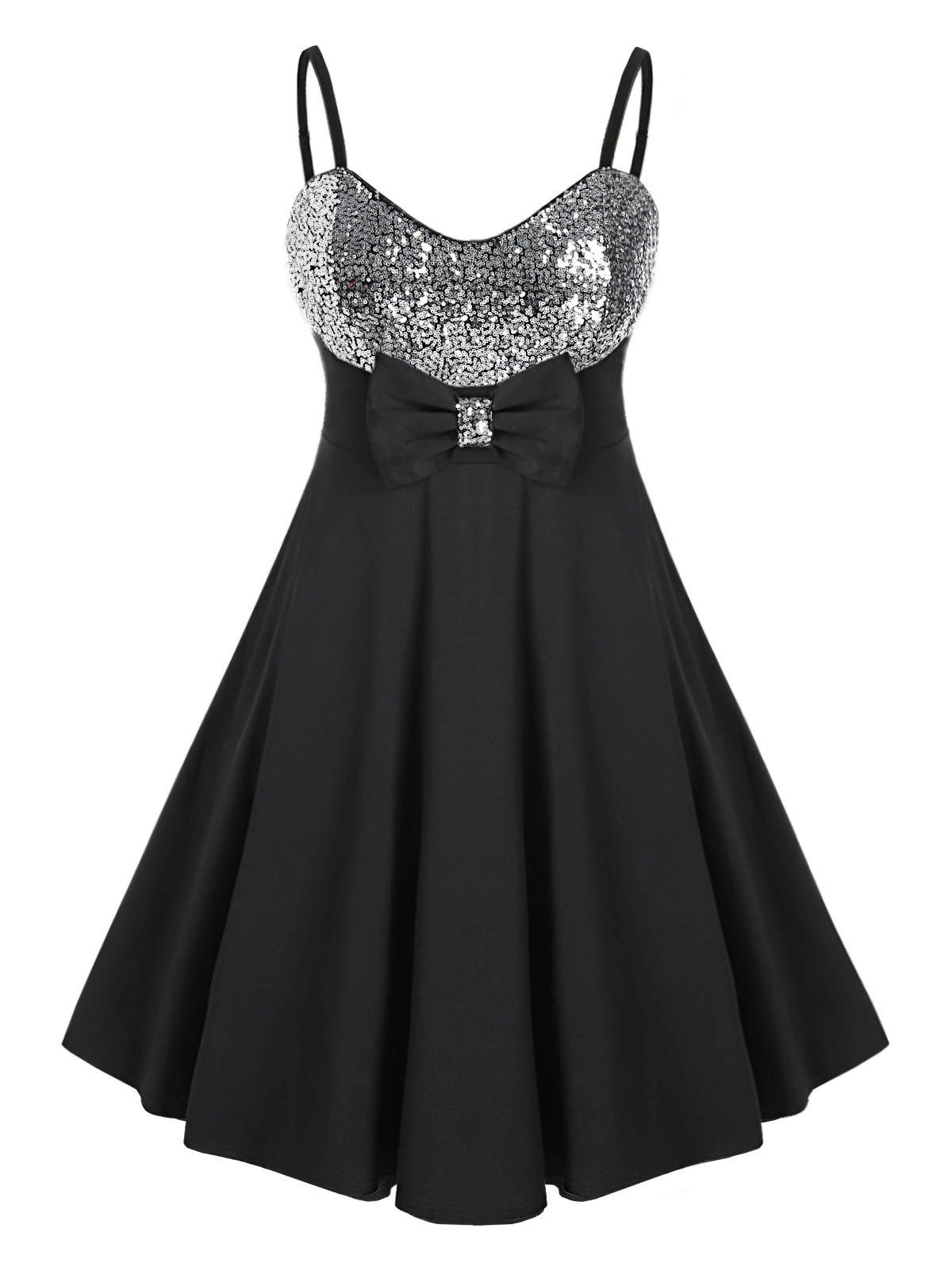 Plus Size Sequins Bowknot Prom Dress - BLACK 5X