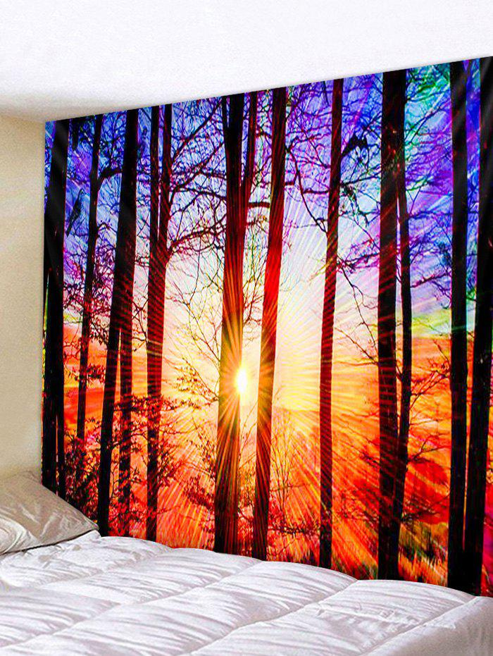 Sunset Forest Print Tapestry Wall Hanging Art Decor - CHOCOLATE W91 X L71 INCH