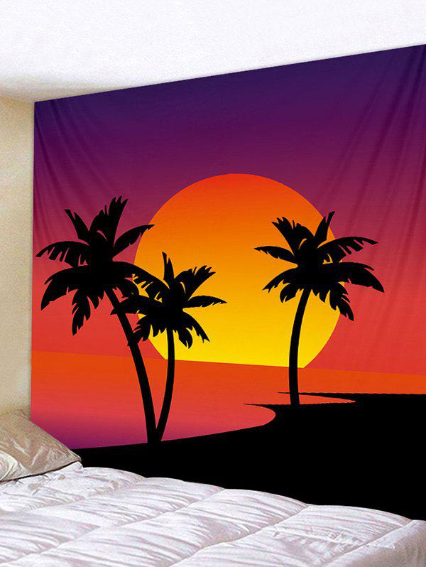 Sunset Palm Tree Print Tapestry Wall Hanging Art Decoration - multicolor W91 X L71 INCH