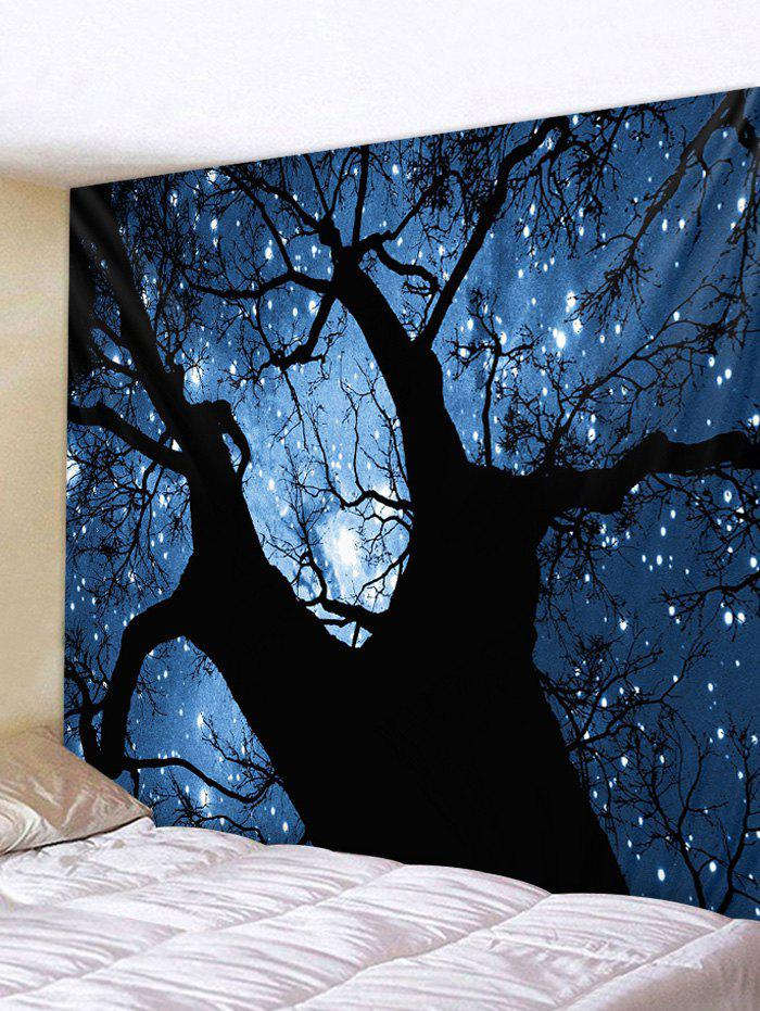 Tree Starry Sky Print Tapestry Wall Hanging Art Decoration - multicolor W91 X L71 INCH