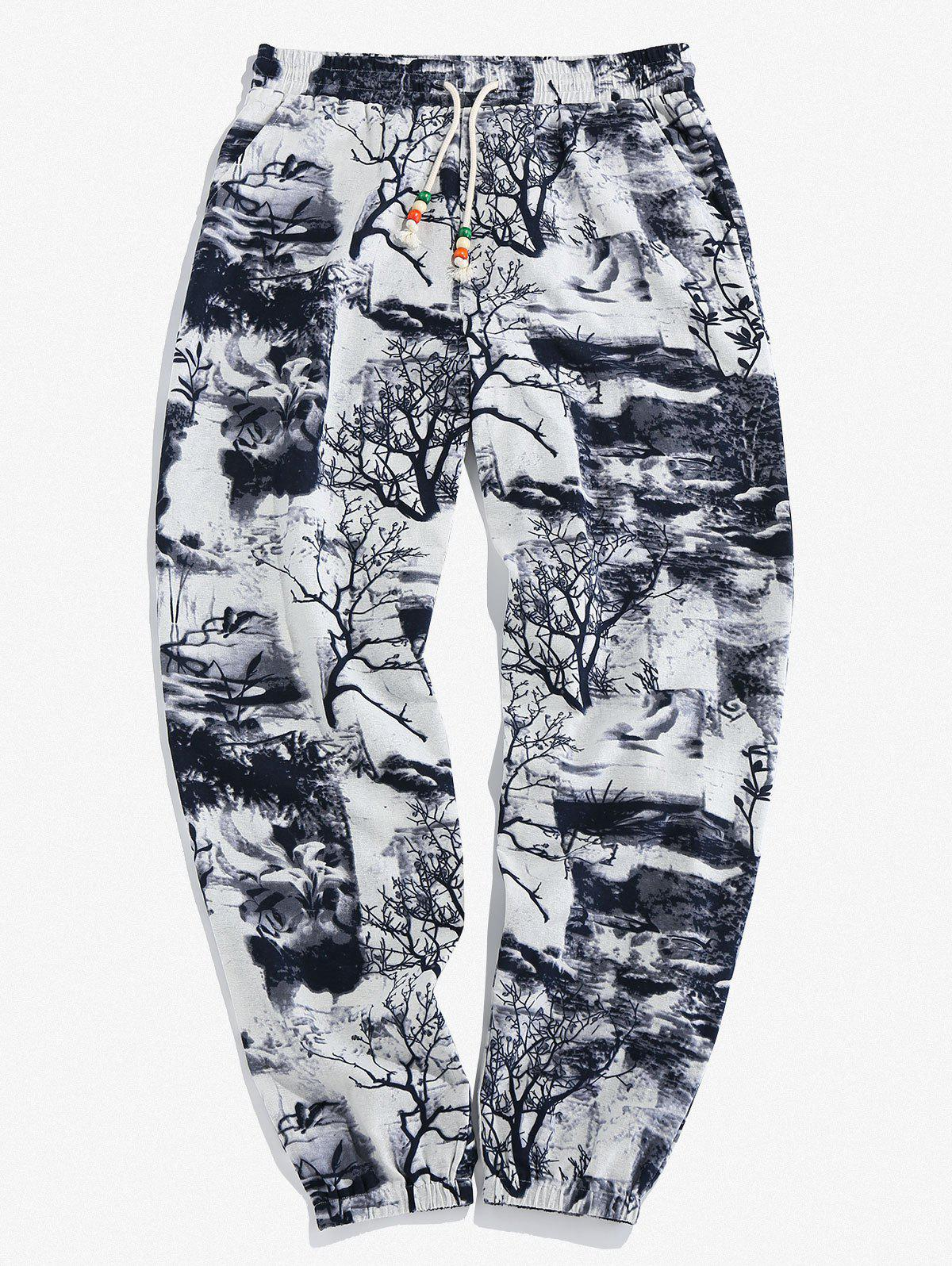 Plant Ink Painting Print Jogger Pants - WHITE 2XL