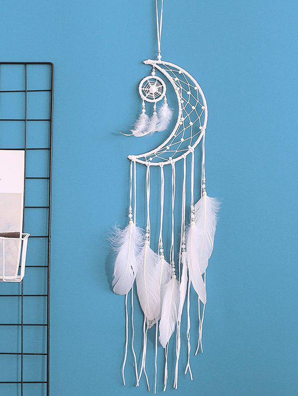 Home Decoration Crescent Shape Beaded Feather Dream Catcher - WHITE