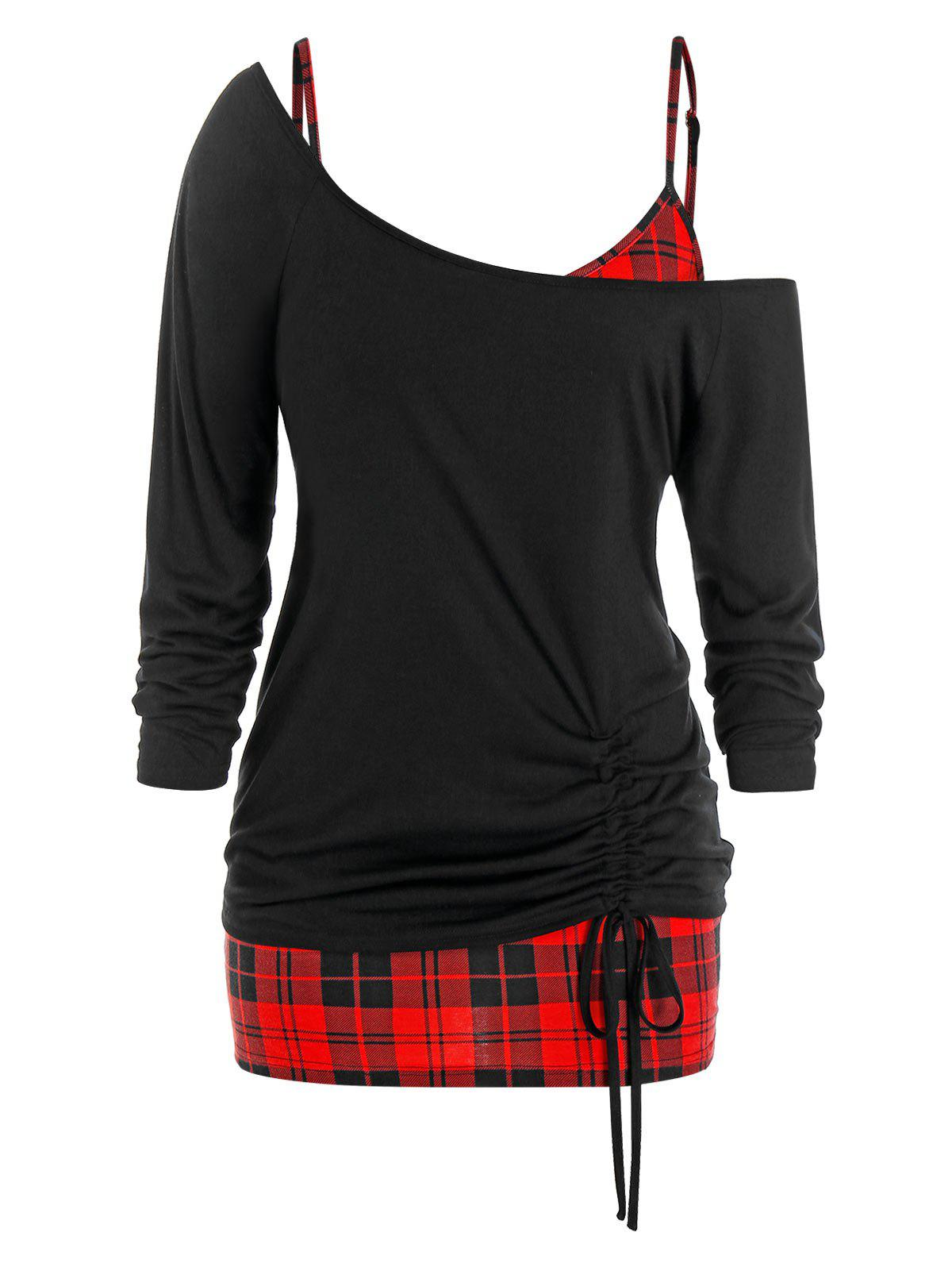 Plus Size Skew Collar T-shirt and Plaid Cami Top Set - BLACK 1X