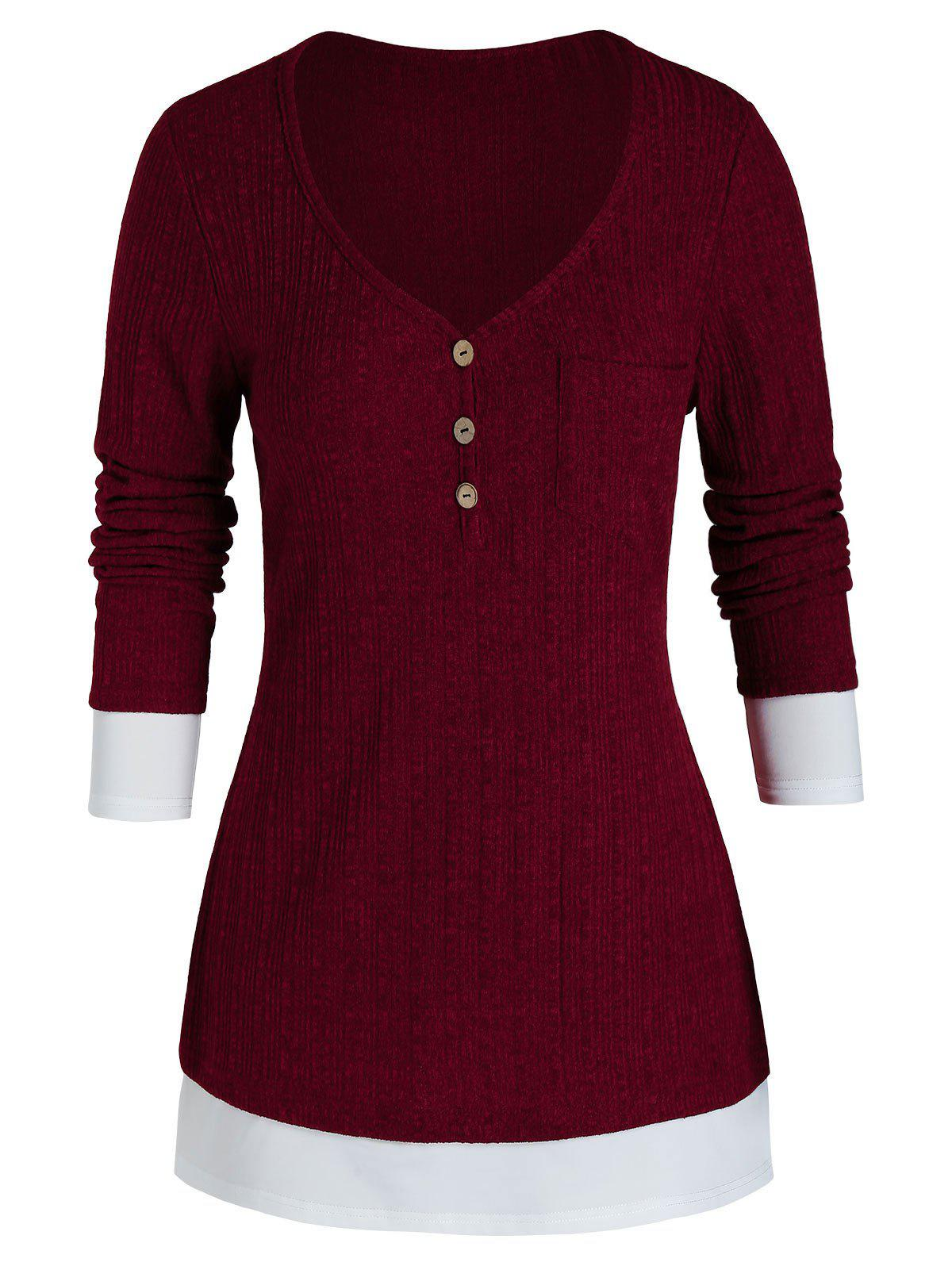 Plus Size Bicolor Chest Pocket Knitted Sweater - RED WINE 1X