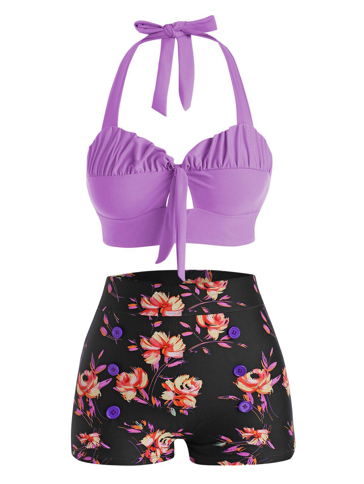 Halter Floral Ruched Boyshorts Bikini Swimwear - PURPLE L