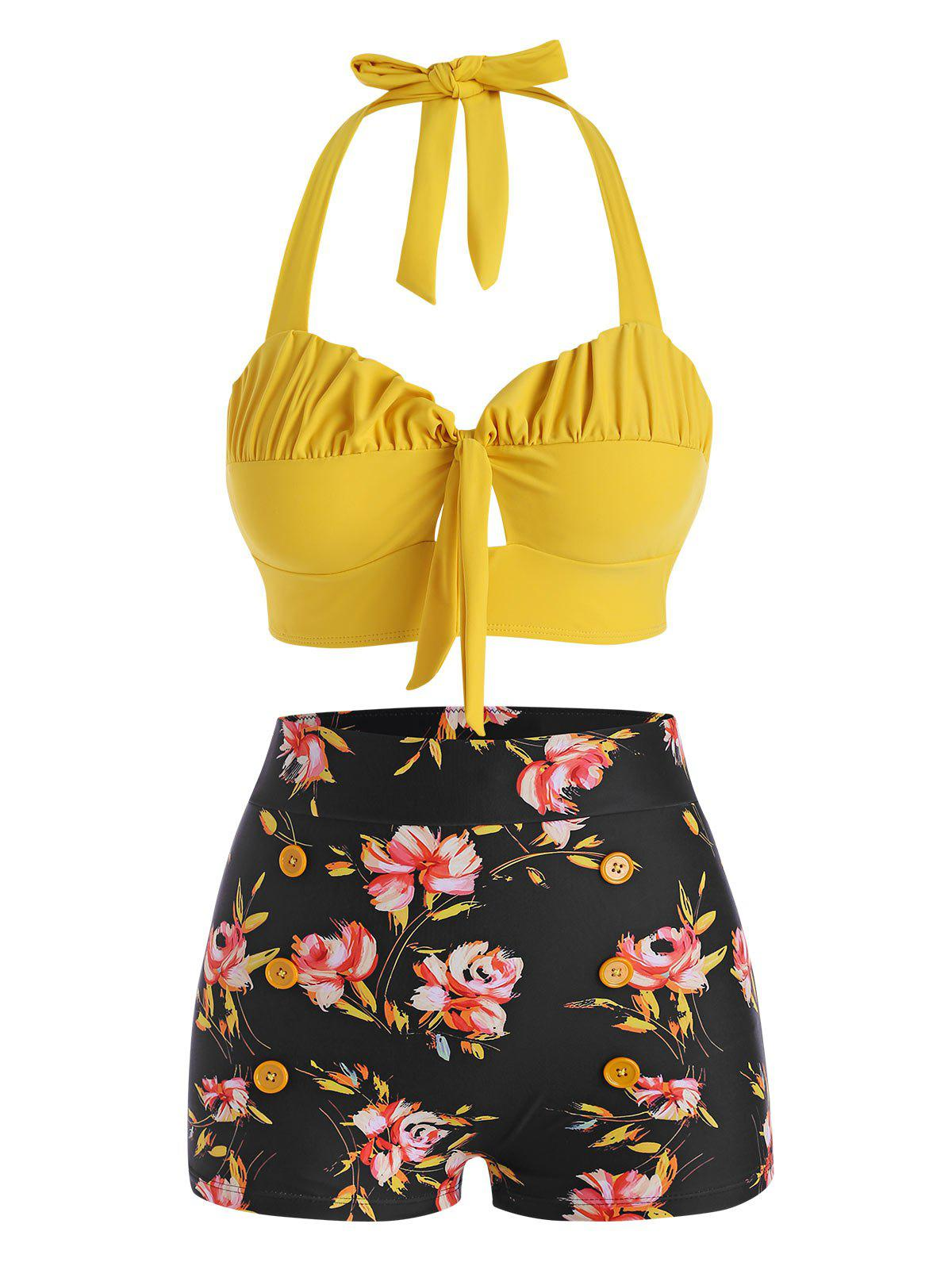 Halter Floral Ruched Boyshorts Bikini Swimwear - YELLOW 2XL