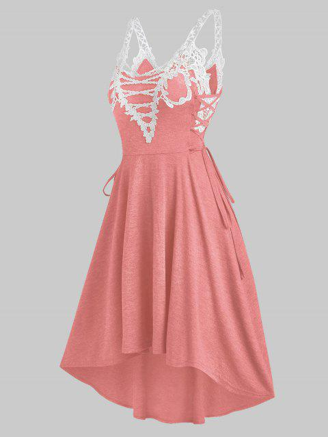 Lace Insert Sleeveless Lace-up High Low Dress