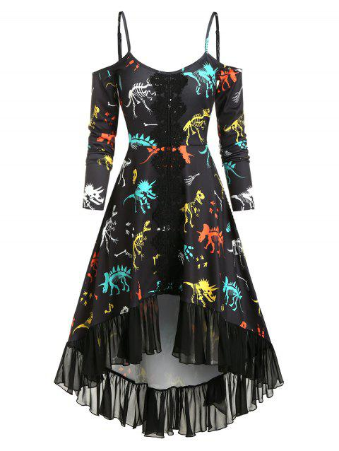 Applique Dinosaur Bone Print High Low Dress