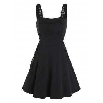 Sleeveless Buckle Strap Lace-up Gothic Dress
