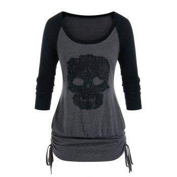 Plus Size Skull Crochet Cinched Tie Long Sleeve Tee