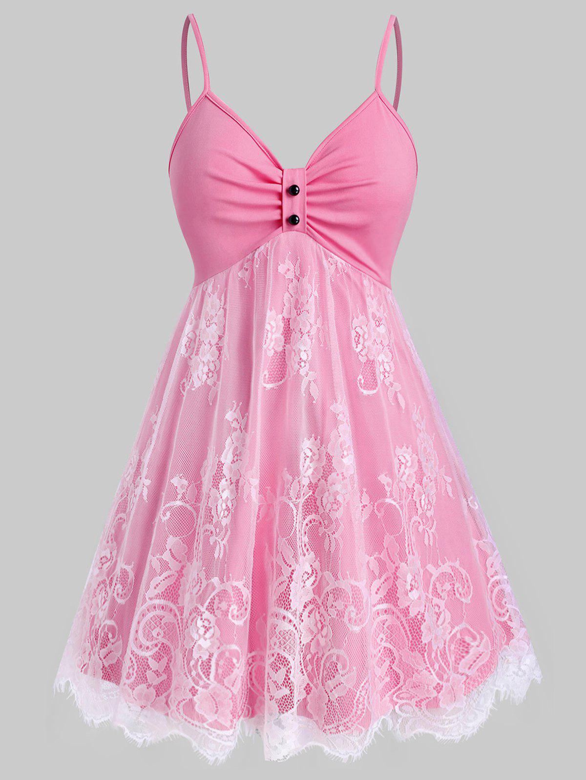 Plus Size Lace Overlay Fit and Flare Dress - LIGHT PINK 3X