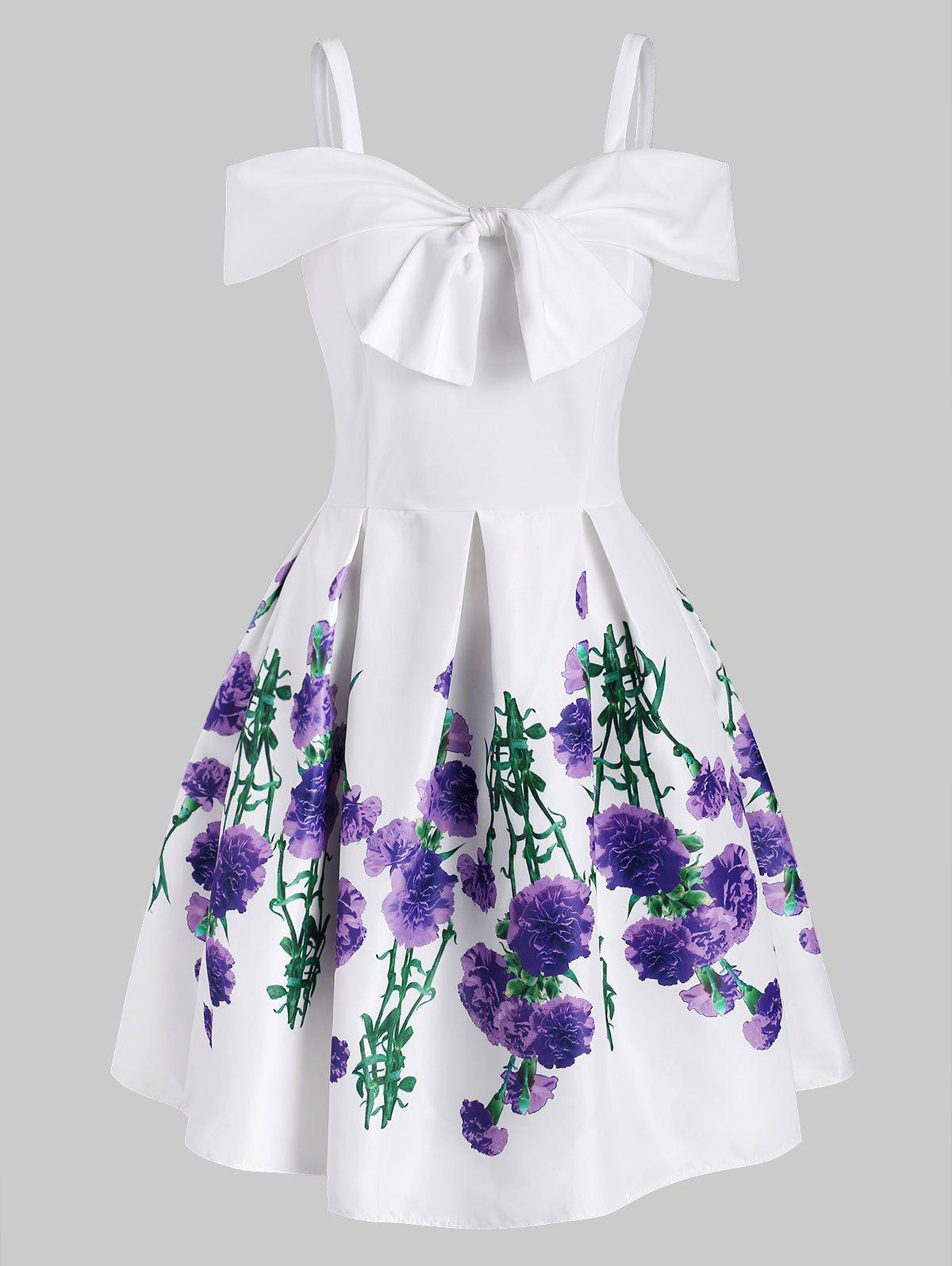 Flower Print Foldover Bowknot Open Shoulder Dress - WHITE 2XL