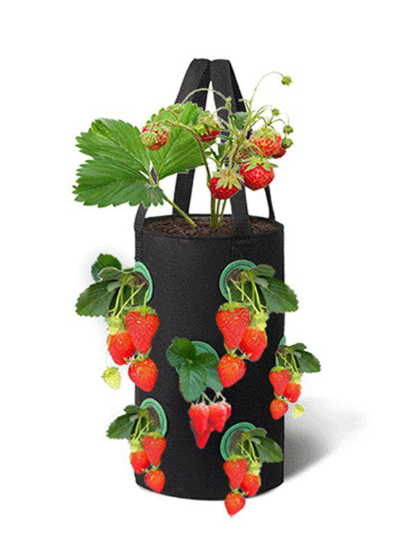 12 Holes Strawberry Planting Basket Non-woven Hanging Bag - BLACK
