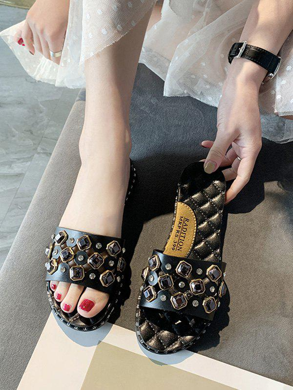 Cut Out Rhinestone Quilted Flat Slides - BLACK EU 40