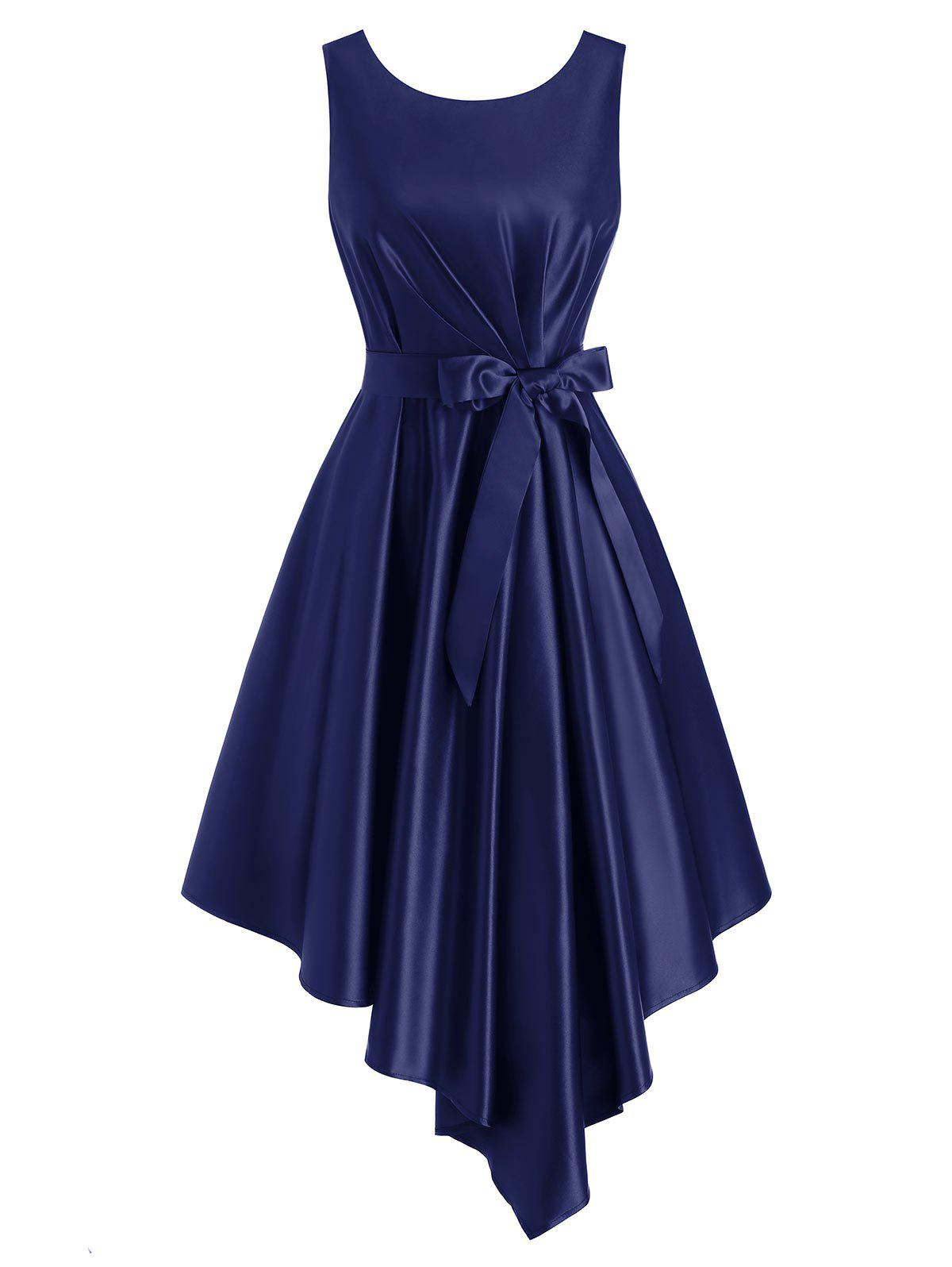 Belted Pleated Waisted Sleeveless Asymmetrical Dress - DEEP BLUE M