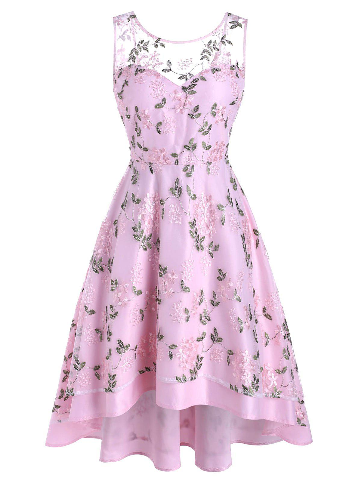 Flower Leaf Embroidered Lace Overlay High Low Dress - LIGHT PINK XL