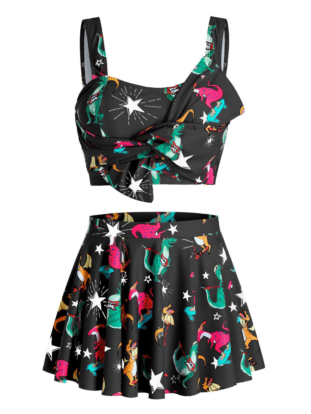 Plus Size Star Dinosaur Knotted Tankini Swimwear with Skirt - BLACK 3X