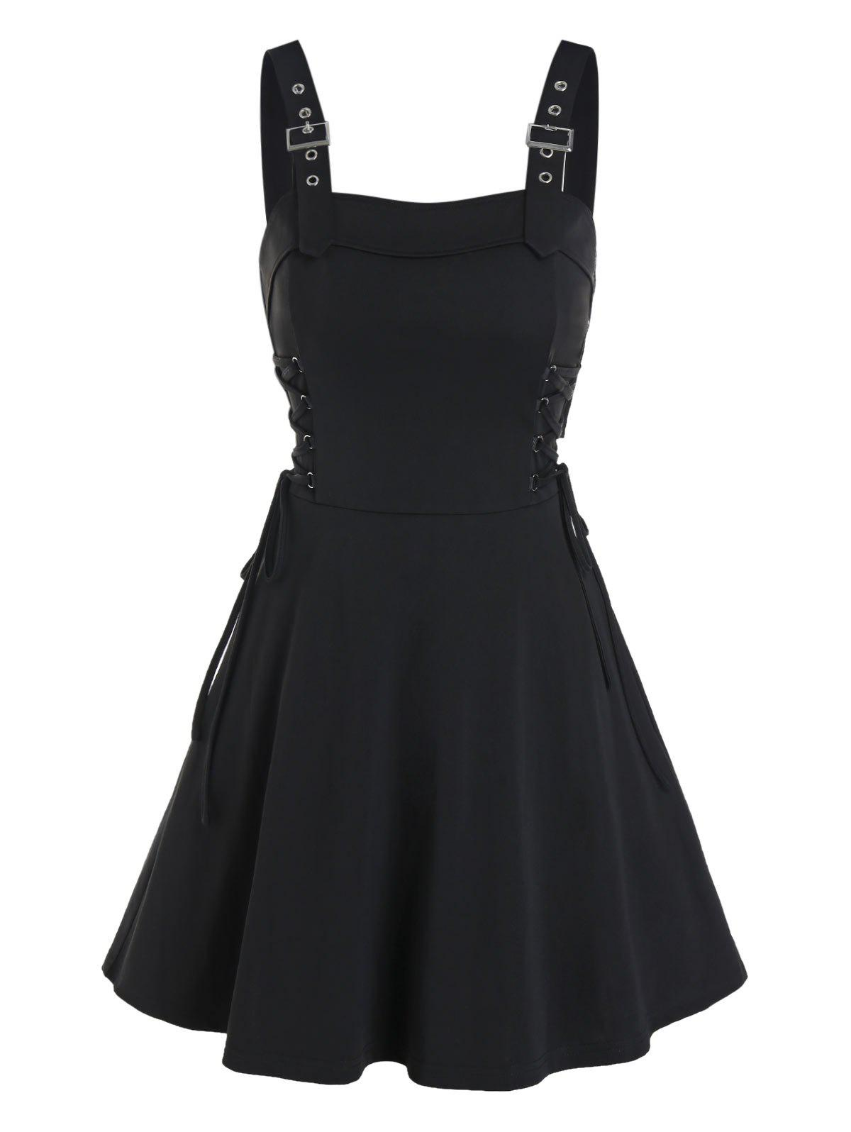 Sleeveless Buckle Strap Lace-up Gothic Dress - BLACK XL