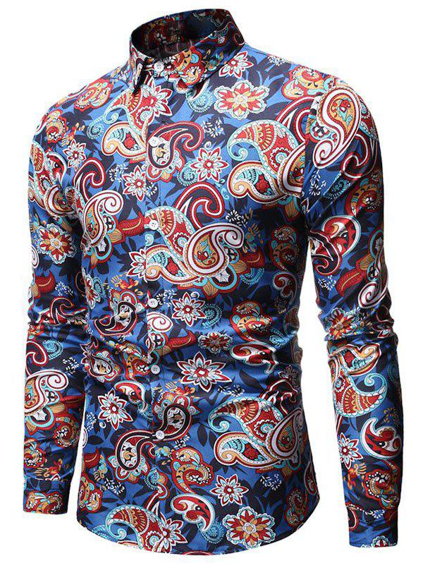 Paisley Flower Print Long Sleeve Shirt - BLUE 3XL