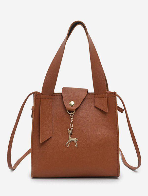Deer Charm Mini Bucket Crossbody Bag - COFFEE