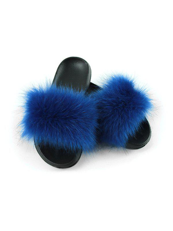 Faux Fur Casual Flat Slides - BLUE EU (44-45)