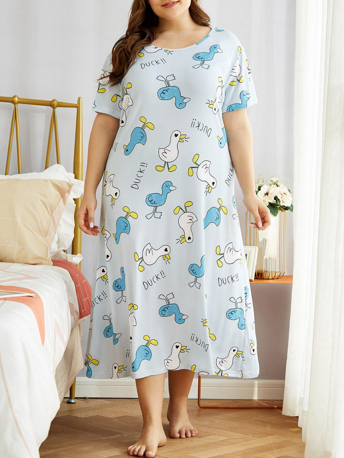 Ducks Print Plus Size Night Dress - LIGHT BLUE 3XL