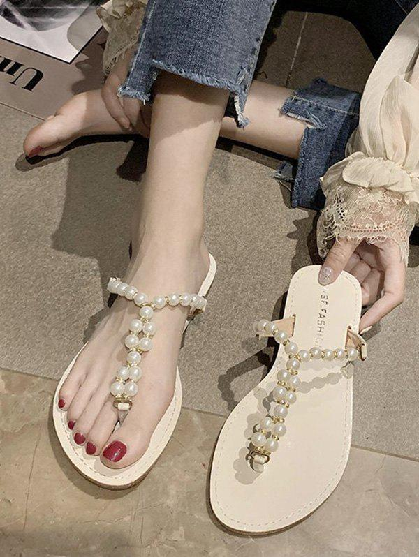Faux Pearl Beaded Flat Thong Slides Sandals - BEIGE EU 39
