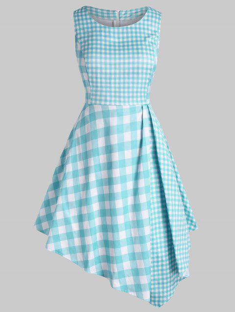 Plus Size Plaid Asymmetrical Sleeveless Dress