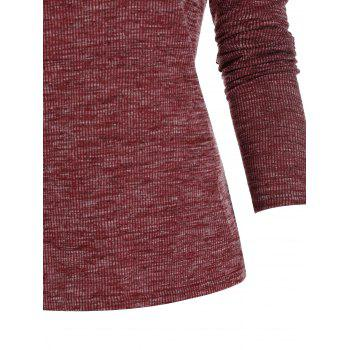 Cold Shoulder Criss-cross Ribbed Heathered T-shirt
