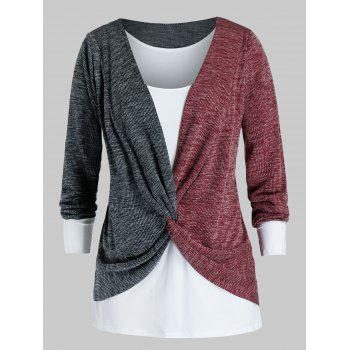 Plus Size Two Tone Twist Sweater and Tank Top Set