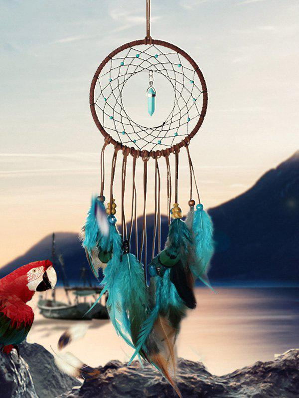 Home Decoration Faux Turquoise Beaded Feather Dream Catcher - multicolor A