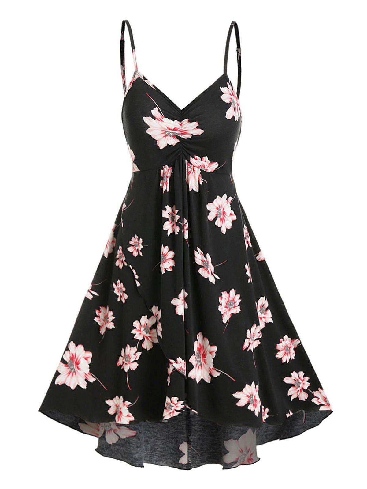 Floral Print Mini Cami High Low Dress - BLACK L