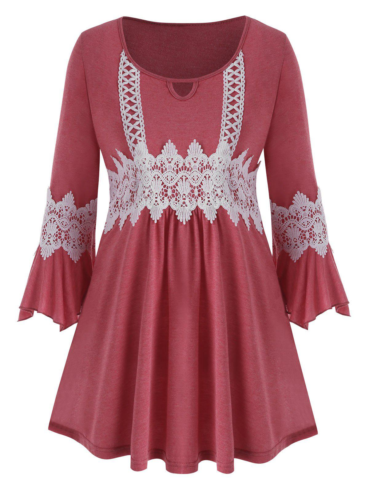 Plus Size Contrast Lace Bell Sleeve Tee - RED L