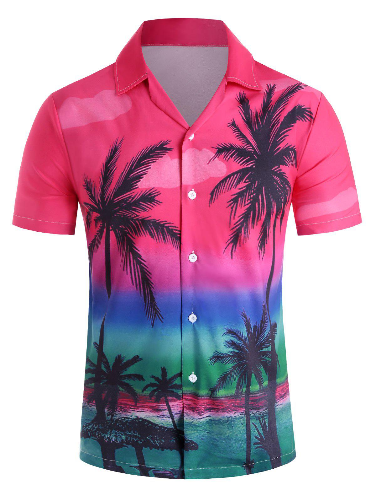 Hawaii Style Casual Short Sleeves Shirt - RED M