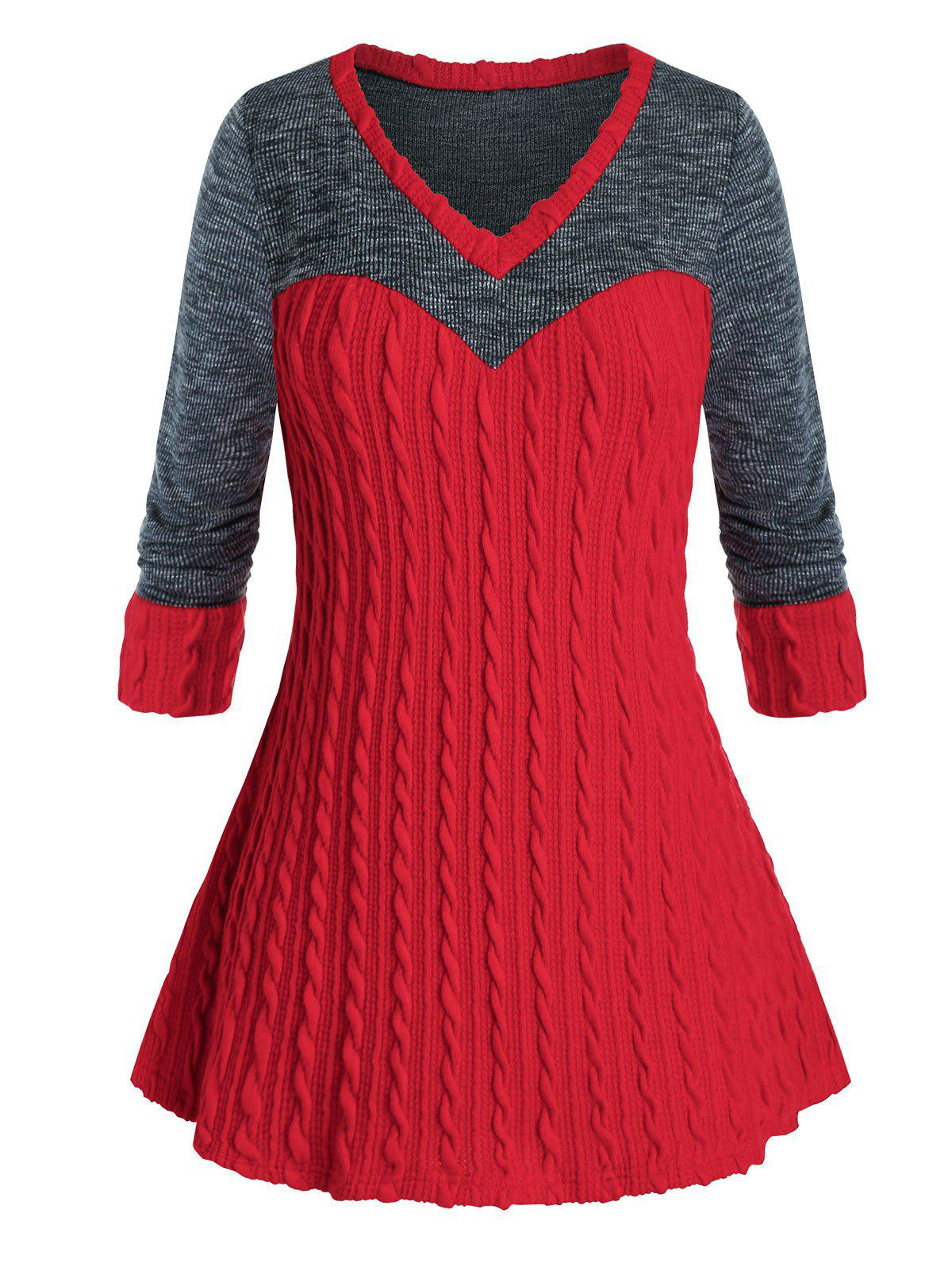 Plus Size Two Tone Cable Knit Tunic Sweater - multicolor 3X
