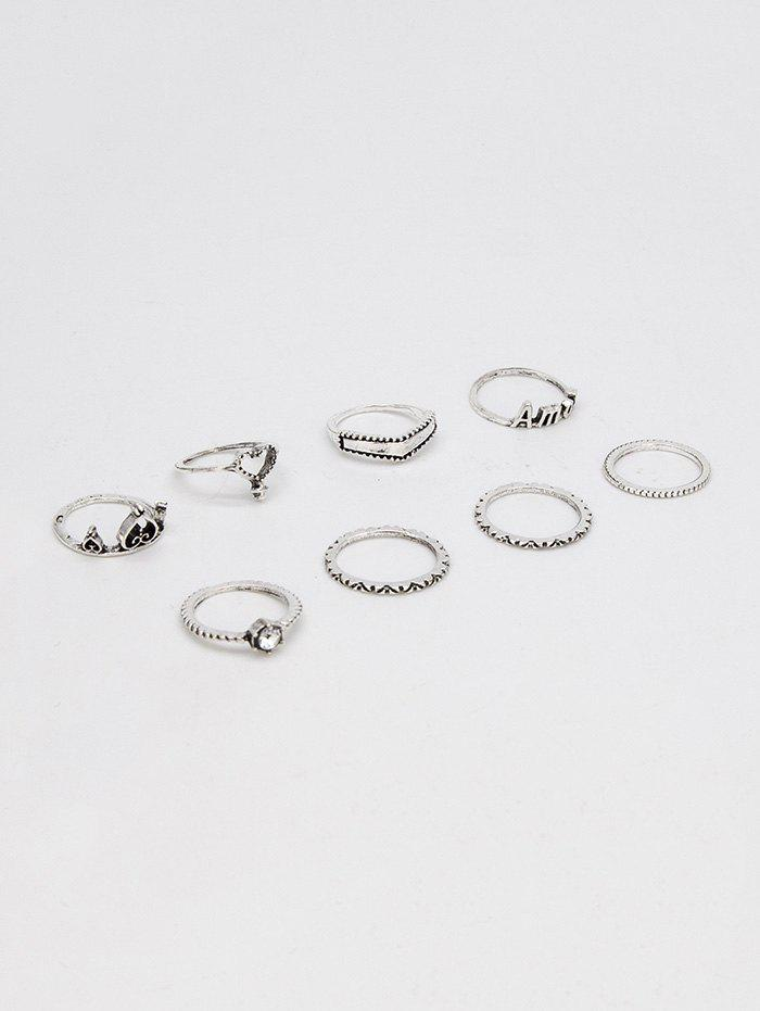 8Pcs Heart Letter Hollow Out Ring Set - SILVER