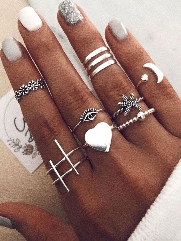10Pcs Heart Eye Starfish Moon Ring Set - SILVER