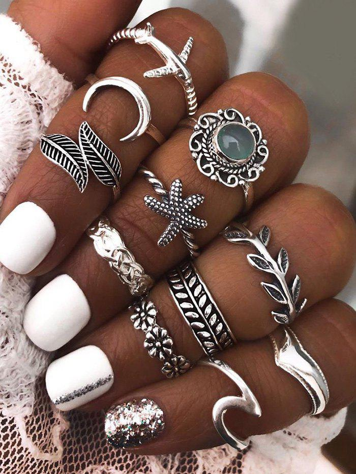 11 Pcs Leaves Starfish Moon Carved Ring Set - SILVER
