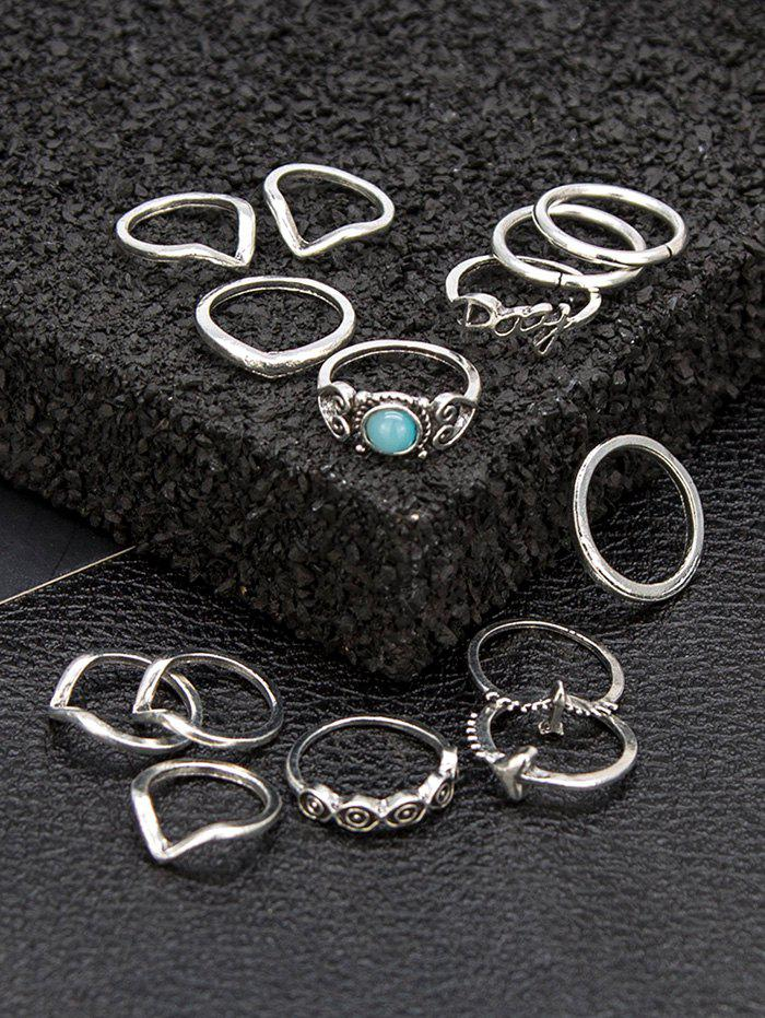 14Pcs Faux Gem Plane Letter Rings Set - SILVER