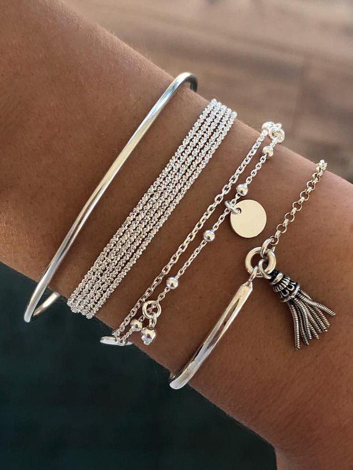 4Pcs Ethnic Tassel Beads Layered Bracelet Set - SILVER