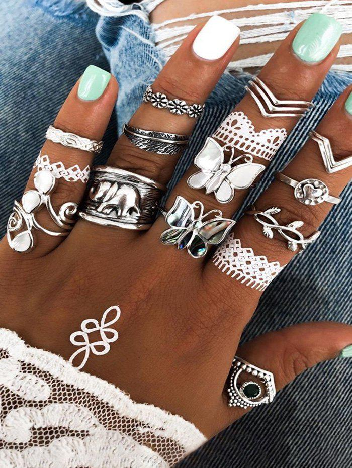 14Pcs Butterfly Leaf Ring Set - SILVER