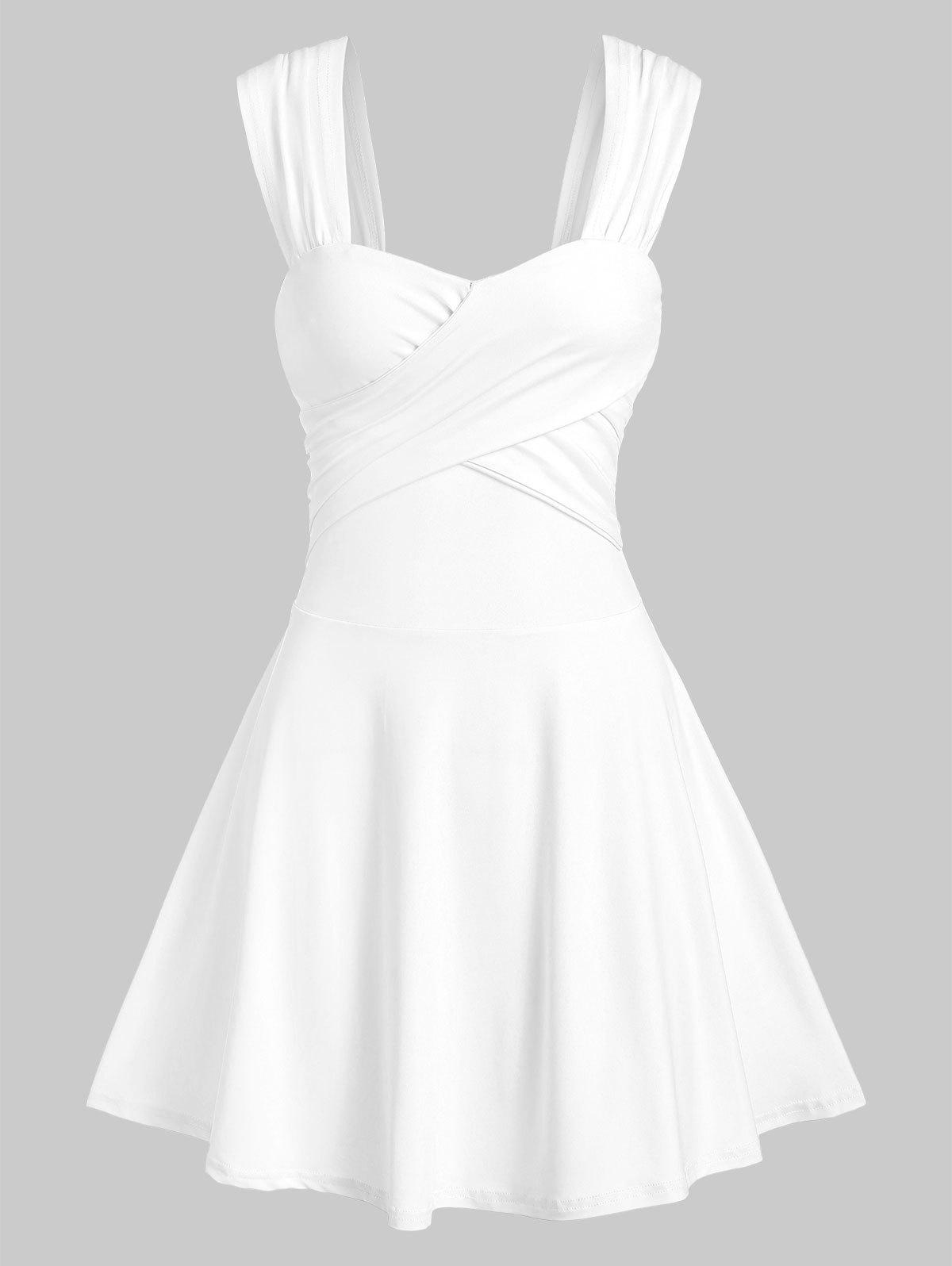 Sleeveless Crossover Flare Dress - WHITE 2XL