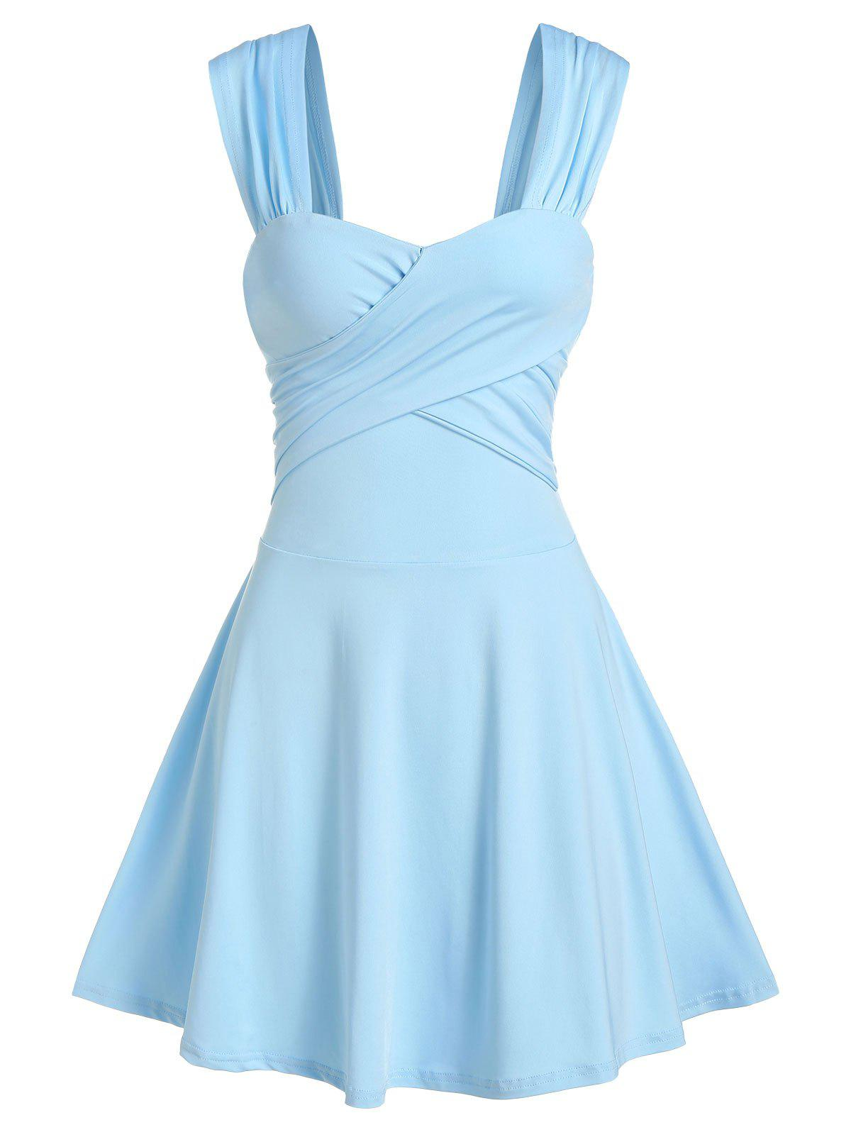 Sleeveless Crossover Flare Dress - DAY SKY BLUE M